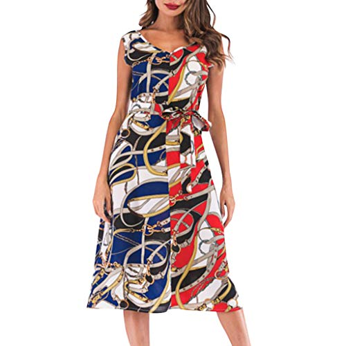 (【MOHOLL】 Women's Summer Short Sleeve V-Neck Vintage Print Sleeveless Casual Knee-Length Dress Short Party Dress Blue)