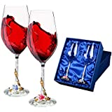 Wine Glasses Set of 2 - Unbreakable Stemless Glass with Crystal Diamonds Stem - For Red And White Wines Glasses - 16 Ounce - 100% Lead Free - Great Gift Idea - Flower Stem