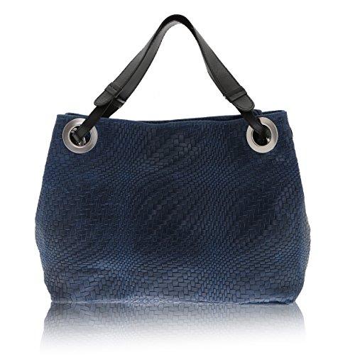 Chicca Borse - Mujer bolsa de hombro en cuero genuino Made in Italy - 38 x 28 x 10 Cm azul