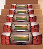 iPrint Non-Slip Carpets Stair Treads,House Decor,Fresh Nature Setting from Train Compartment Window Railroad Destination Travel Image,Red Green Cream,(Set of 5) 8.6''x27.5''