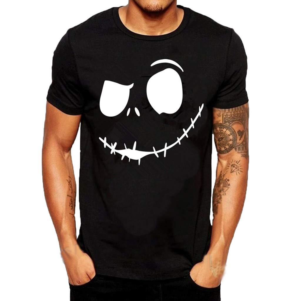 Allywit-Mens Summer New Evil Smile Face Printed Round-Collar Comfortable T-Shirt Top Plus Size Black