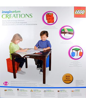 Amazon.com: Imaginarium LEGO Activity Table With 2 Ottomans With Switch  Table Surface   Natural: Toys U0026 Games