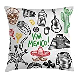 Ambesonne Mexican Decorations Throw Pillow Cushion Cover by, Sketch Latin Object with Burritos Guitar Tequila Bottle Pinata Quetzal coati, Decorative Square Accent Pillow Case, 24 X 24 Inches, Multi