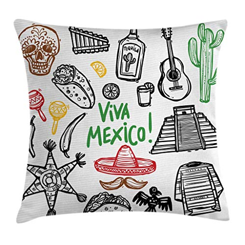 """Ambesonne Mexican Throw Pillow Cushion Cover, Sketch Latin Object with Burritos Guitar Tequila Bottle and Pinata Quetzal Coati, Decorative Square Accent Pillow Case, 24"""" X 24"""", Black Brown"""
