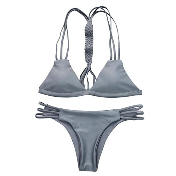 35716bacdda Amazon.com: aoliaoyudongyongpin 2018 Women Bandage Thong Brazilian Bikinis  Swimwear Female Sexy Gray Push up Swimsuit Bikini Set: Clothing