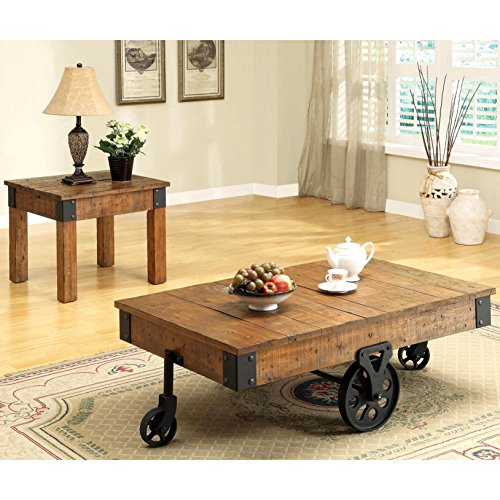 A Line Furniture Industrial Rustic Wagon Design Occasional Table Set with Functional Iron Wheels 1 Coffee Table with Wheels, 1 End Table