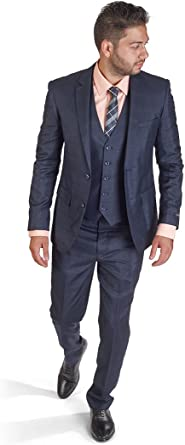 Slim Fit Men Suit Micro Textured Weave 2 Button Notch Collar AZAR 11812