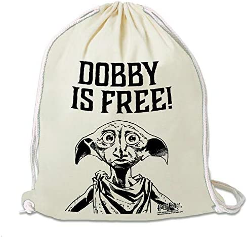schwarz Dobby Ist Frei Lizenziertes Original Design Harry Potter Turnbeutel Logoshirt Sportbeutel
