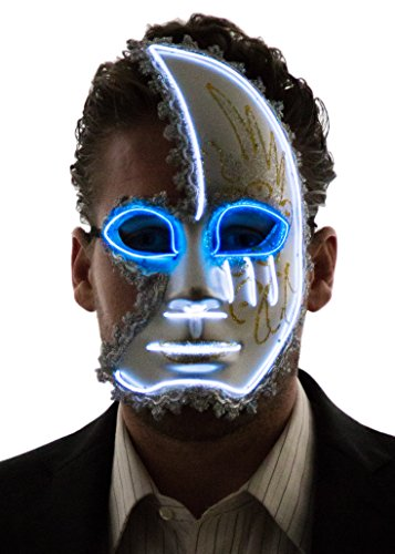 Neon Nightlife Men's Light Up Half Face Venetian Sparkle Mask, White & Blue
