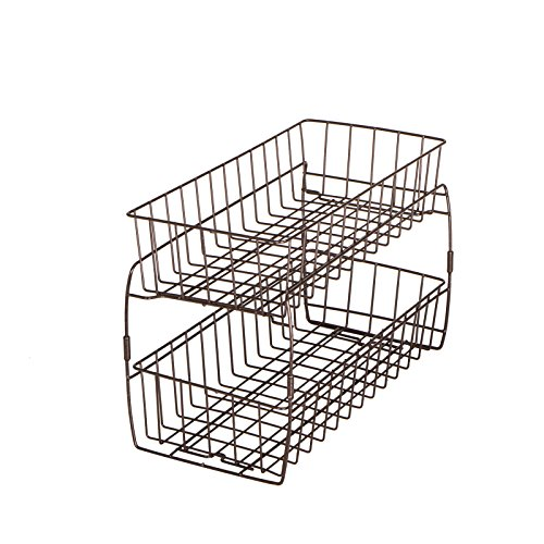2 Drawer Stacking Cabinet - Smart Design 2-Tier Stackable Pull Out Baskets - Sturdy Wire Frame Design - Rust Resistant Vinyl Coat - for Pantries, Countertops, Bathroom - Kitchen (18 x 11.75 Inch) [Bronze]