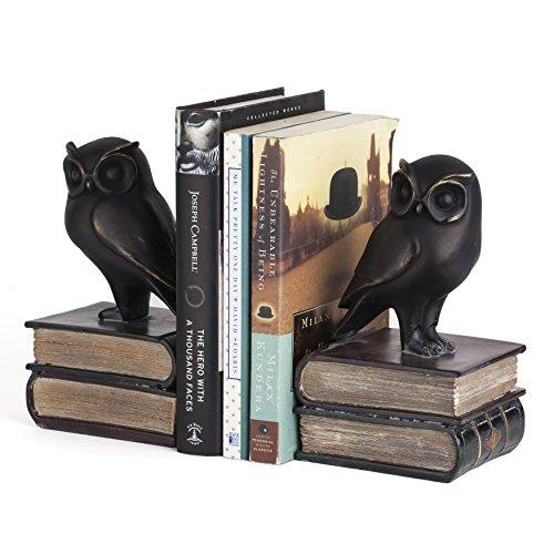 Decor Home Bookends (Danya B. DS780 Decorative Rustic Bookshelf Decor - Owl on Books Bookend Set – Bronze)