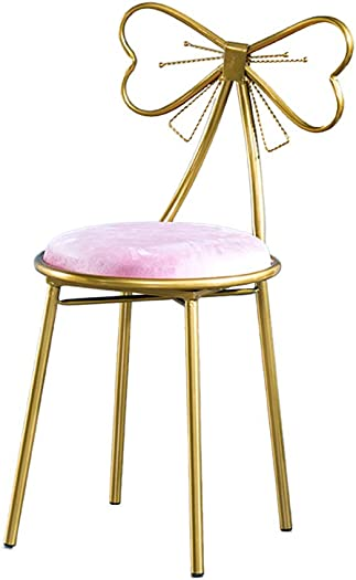 JHSLXD Dressing Table Makeup Stool Household Bedroom Gold Dressing Stool Bow Tie Lounge Chair Armchair Small Metal Dining Chair Furniture,Pink