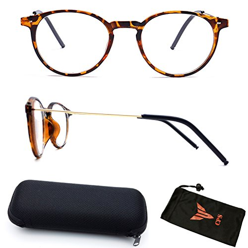 (#NS-RND Tort) Retro Classic Round Shape Metal & Plastic Nearsighted Myopia Driving View Distance Glasses (Strength: -1.0)