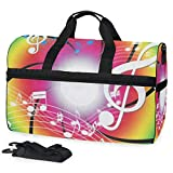 Dancing Music Notes Sports Gym Bag with Shoes Compartment Travel Duffel Bag for Men Women