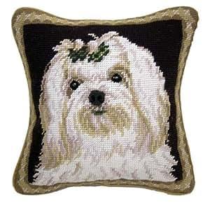 Amazon Com Maltese Dog Needlepoint Throw Pillow 10