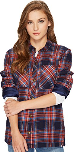 Volcom Junior's Plaid About You Long Sleeve Top, Midnight Blue, XS