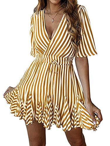 (PRETTYGARDEN Women's Sexy Deep V Neck Short Sleeve Striped Wrap Ruffle Hem Pleated Mini Dress with Belt (Brown, Medium))