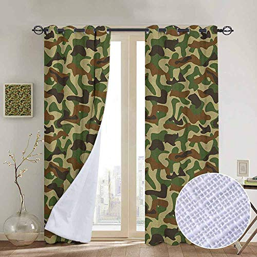 Blackout Curtains Camouflage,Squad Uniform Design with Vivid Color Scheme Hunting Camouflage Pattern, Green Brown Khaki,Thermal Insulated Panels Home Décor Window Draperies for Bedroom a100