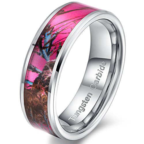 Fashion Month Womens 8mm Tungsten Carbide Ring Pink Camouflage Hunting Camo Oak Wedding Engagement Band Comfort Fit Size 10 (Wedding Rings Pink Camo)