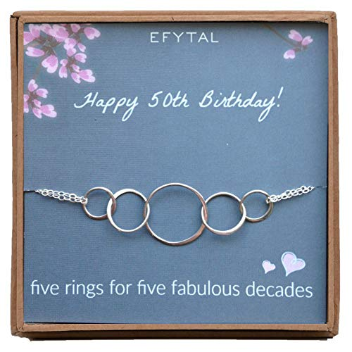 Friendship Bracelet Circle Of (EFYTAL 50th Birthday Gifts for Women, Sterling Silver Five Circle Bracelet for Her, 5 Decade Jewelry 50 Years Old)