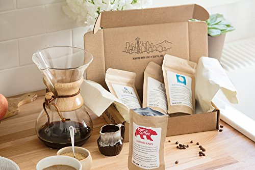 Bean Box Seattle Deluxe Coffee Tour Gourmet Sampler - (whole bean, 16 roasts, 16 roasters, personalized gift note, coffee gift basket)