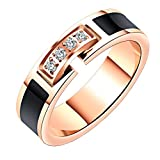 PAURO Women's Stainless Steel Cubic Zirconia 5mm Rose Gold Pinky Ring Comfort Fit Band Size 5