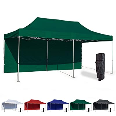 Vispronet 10x20 Instant Canopy Tent and Side Wall – Commercial Grade Aluminum Frame with Water-Resistant Canopy Top and Sidewall – Bag and Stake Kit Included (Green) : Garden & Outdoor
