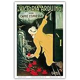 """La Victoria Arduino- Cafe Espresso; Art Nouveau Vintage advertising poster for Italian Coffee Company; Belle Époque, Art Nouveau; Vintage Italian advertising poster; """"Les Maitres de l'Affiche"""", Art Deco by Leonetto Cappiello c.1890 - Master Art Print - 12in x 18in"""