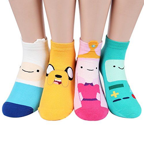 Kiss socks Animation Character Disney Series Women's Original Socks (Adventure Time(Full)_4pairs) -