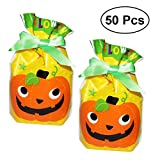 BESTONZON 50pcs Halloween Cute PumpkinCandy Bag,Halloween Trick Treat Bags,Children Party Drawstring Gift Bag