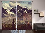 Ambesonne Alaska Mountains Curtains, Arctic Landscape Hiking Mountain in Usa Wilderness, Window Drapes 2 Panel Set For Living Room Bedroom, 108 W X 84 L Inches For Sale