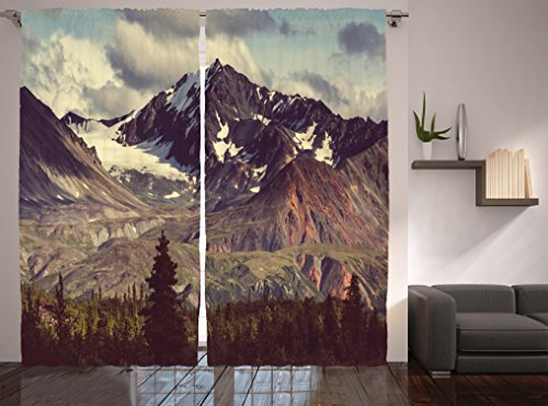 - Ambesonne Alaska Mountains Curtains, Arctic Landscape Hiking Alaska Mountains Scenery in USA Wilderness, Living Room Bedroom Window Drapes 2 Panel Set, 108 W X 84 L Inches, Green Blue