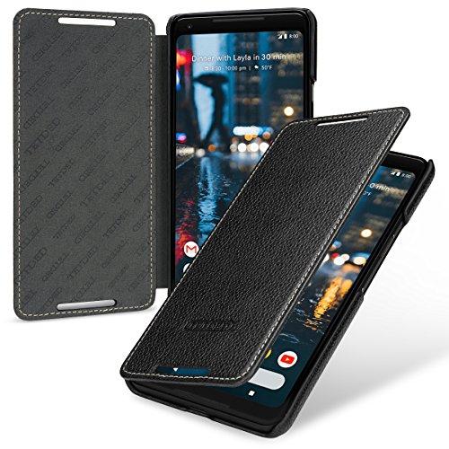 TETDED Premium Genuine Leather Case for Google Pixel 2 XL, Book Type, DJ2 (Black)