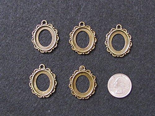 5 Antique Bronze CABOCHON Setting Frame Open Bezels for Resin, Open Back Bezel Pendant Blanks for Jewelry Making -