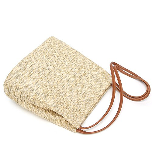 Bag Beach Style Summer Straw Brown Holiday Women Beach Bag Weave for Clutch Bohemia Purse Handbag Everyday Straw Travel Strap Leisial Women Use 6q7wXnt55g