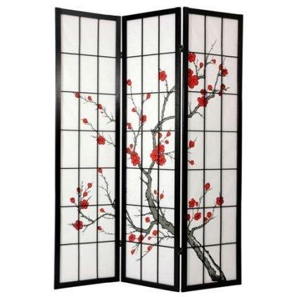oriental furniture 6 ft tall cherry blossom shoji screen black