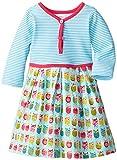 Zutano Baby Girls' Owls Pretty Pleats Dress, Aqua, 6 Months