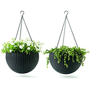 Keter Dia 13.9 in. Round Plastic Resin Garden Plant Hanging Planters Decor Pots 2 pc, Brown