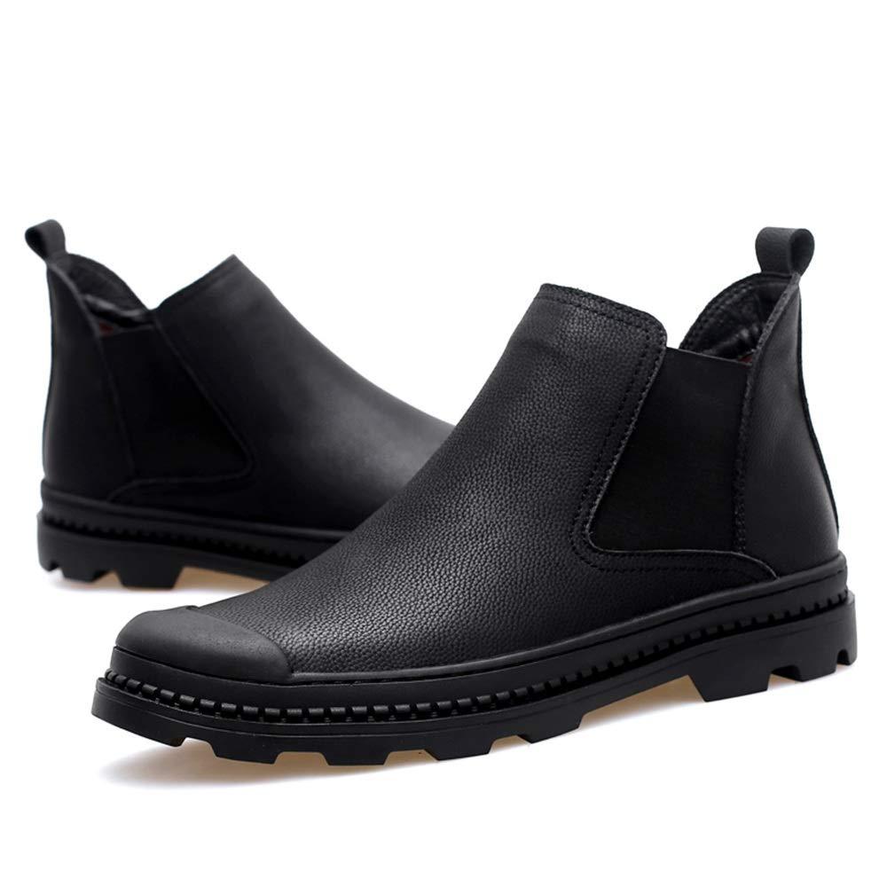 Shufang-schuhe Herrenmode Chelsea Stiefel Casual Klassisch High Top Hard Style Warm Fleece Inside Ankle Stiefel für Männer (Farbe   Schwarz, Größe   44 EU)