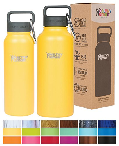 Healthy Human 32oz Water Bottle - BPA Free Stainless Steel Insulated Flask with Hydro Guide - Limoncello