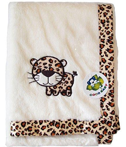 - Plush Beige Baby PV Blanket, Leopard Cub Design (Brown), 30