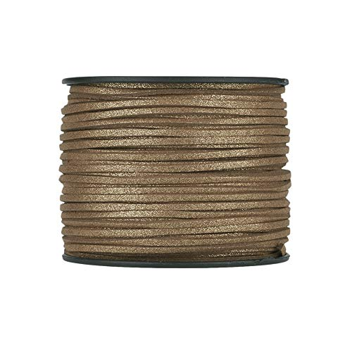 Fashewelry 100 Yards Micro Fibre Faux Suede Flat Cord 3mm Leather Lace Velvet Beading String Rope with Roll Spool for DIY Jewelry Craft Making (Goldenrod) (Leather Cord Gold)