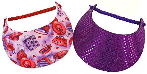 (Coil Foam Visor 2 Pack 1 Purple Sequin & 1 Red Hat and Purse Prints Red Hat Ladies)
