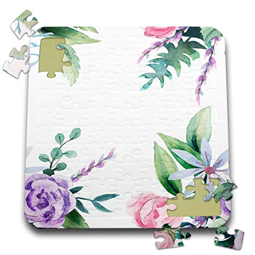 - 3dRose Made in The Highlands - Vector-Floral - Delicate Floral Frame - 10x10 Inch Puzzle (pzl_300701_2)