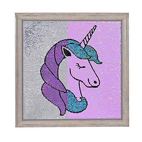 Unicorn Reversible Sequins Frame - Unicorn Decor Sensory Sequin Wall Art Decorative for Girl Kids Nursery Bedroom Living Room ( 17