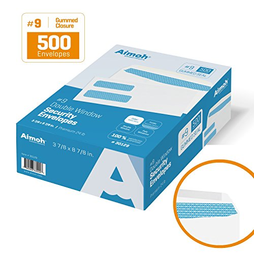 #9 Double Window Security Business Mailing Envelopes for Invoices, Statements and Legal Documents - GUMMED Closure, Security Tinted - Size 3-7/8 x 8-7/8 - White - 24 LB - 500 Count (30129) (Dual Window Envelope)