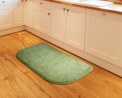 Kashi Home Soft Plush Memory Foam Non-Slip Backing Kitchen Rug Mat, 18x30 Inch, Green