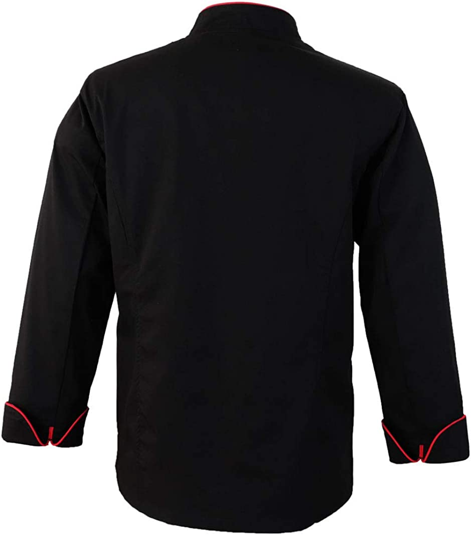 10oz apparel Black Chef Coat Contrast Piping Long Sleeves Jacket