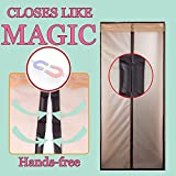 """Magnetic Screen Door Curtain 72""""×80"""" Prevent Air Conditioning Loss Help Saving Electricity & Money,Enjoy Warm Winter,Thermal and Insulated Auto Closer Door Curtain in COFFEE"""