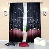 Football Curtains for boys Sports Theme Curtain Window Panels Drapes for Men Living Room Bedroom W84 x L84 inches